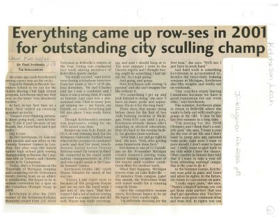 Everything came up row-ses in 2001 for outstanding city sculling champ