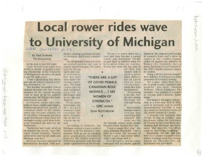 Local rower rides wave to University of Michigan