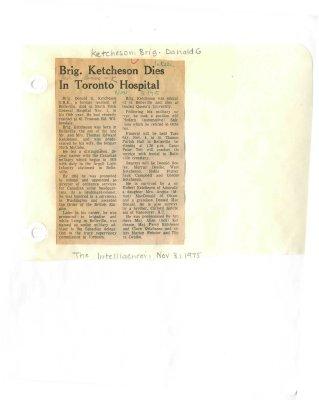 Brig. Ketcheson dies in Toronto hospital