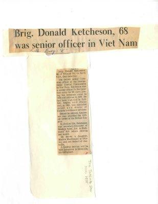 Brig. Donald Ketcheson, 68 was senior officer in Viet Nam