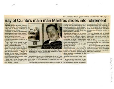 Bay of Quinte's main man Manfred slides into retirement