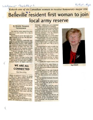 Belleville resident first woman to join local army reserve