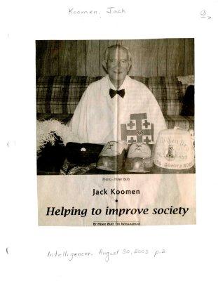 Jack Koomen: helping to improve society