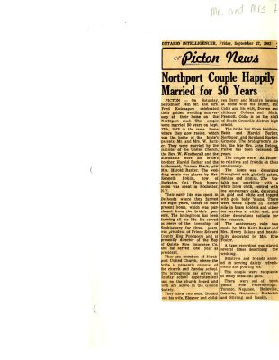 Picton news: Northport couple happily married for 50 years
