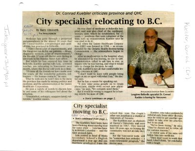 City specialist relocating to B.C.