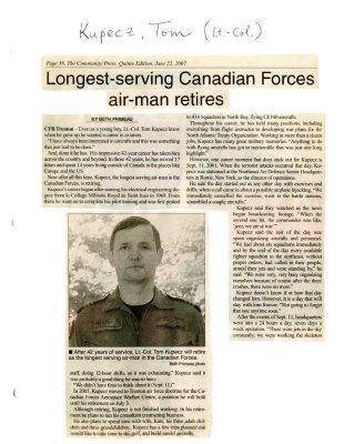 Longest-serving Canadian Forces air-man retires