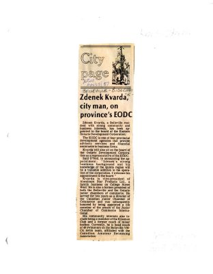Zdenek Kvarda, city man, on province's EODC