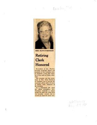 Retiring clerk honored - Mrs. Olive Farnham
