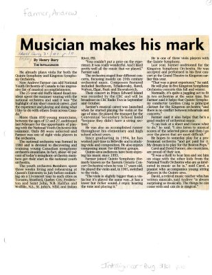Musician makes his mark