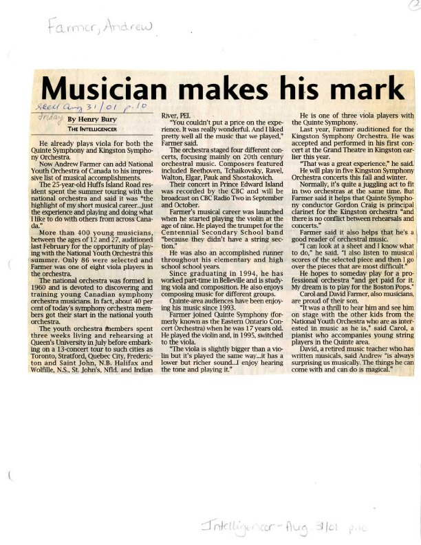 Musician makes his mark