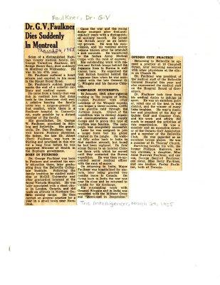 Dr. G. V. Faulkner dies suddenly in Montreal