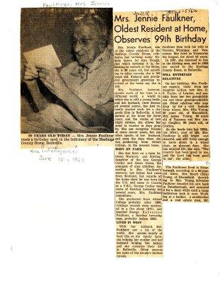 Mrs. Jennie Faulkner, oldest resident at home observes 99th Birthday
