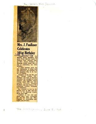 Mrs. J. Faulkner celebrates 101st Birthday