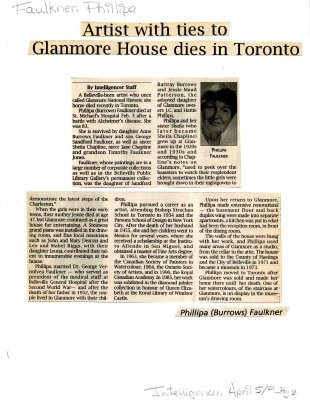 Artist with ties to Glanmore House dies in Toronto