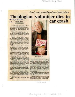 Theologian, volunteer dies in car crash