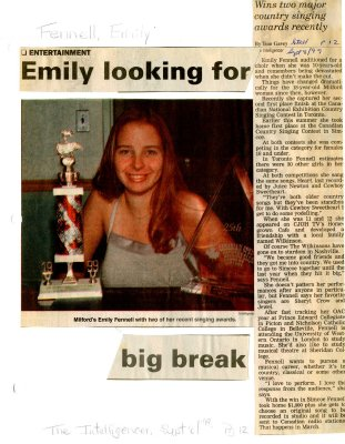 Emily looking for big break: Wins two major country singing awards recently