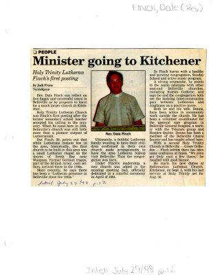 Minister going to Kitchener