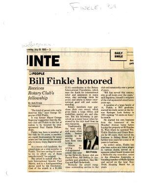 Bill Finkle honored