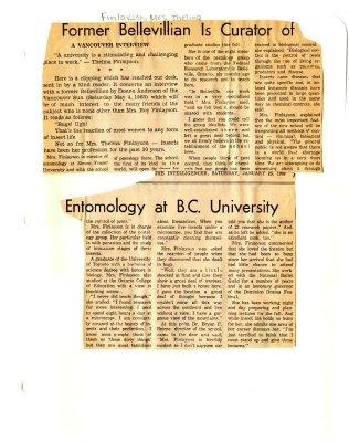 Former Bellevillian is curator of entomology at B.C. University