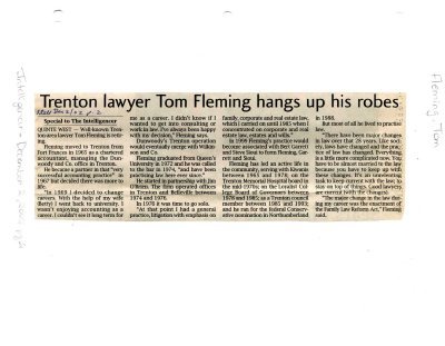 Trenton lawyer Tom Fleming hangs up his robes