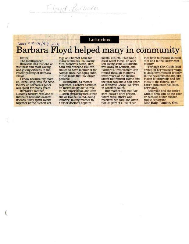Barbara Floyd helped many in community