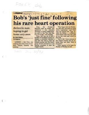 "Bob's ""just fine"" following his rare heart operation"