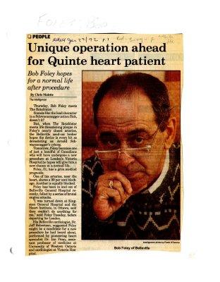 Unique operation ahead for Quinte heart patient