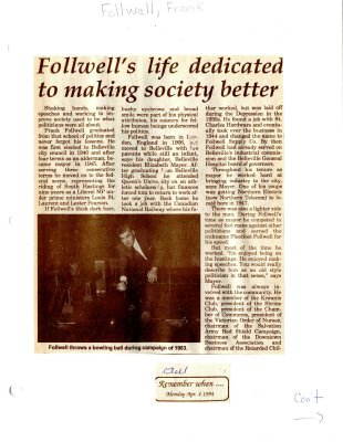 Remember When: Follwell's life dedicated to making society better