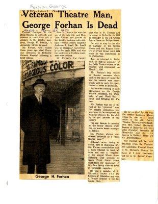 Veteran Theatre Man, George Forhan is Dead