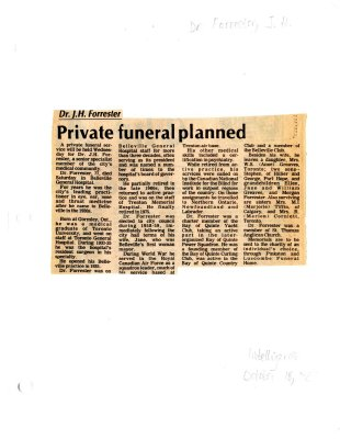 Private funeral planned