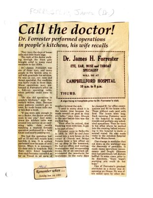 Remember when: Call the doctor!  Dr. Forrester performed operations in people's kitchens, his wife recalls