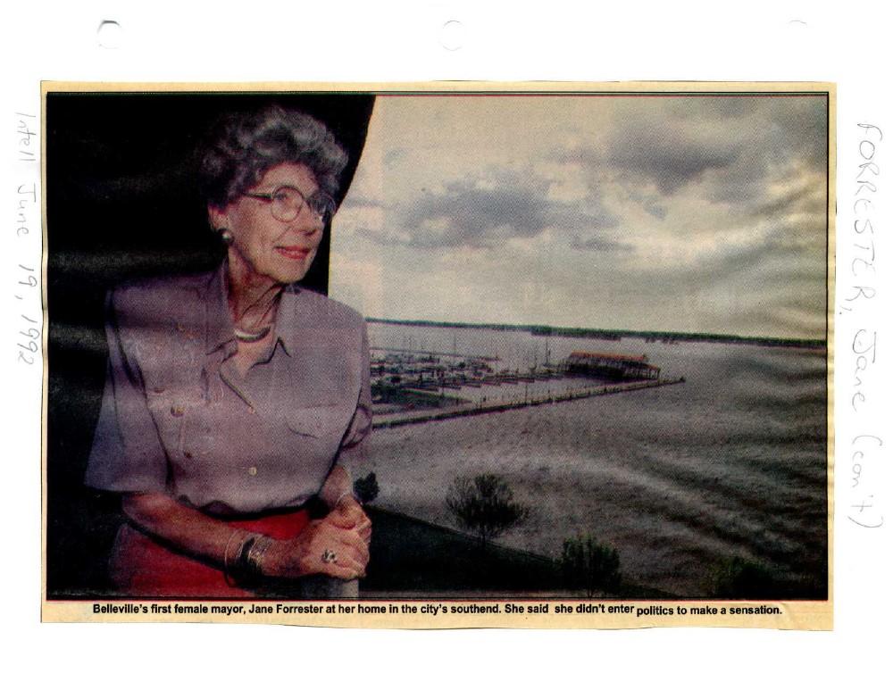 """Jane Forrester, Belleville's first mayor: """"Interesting, satisfying"""""""