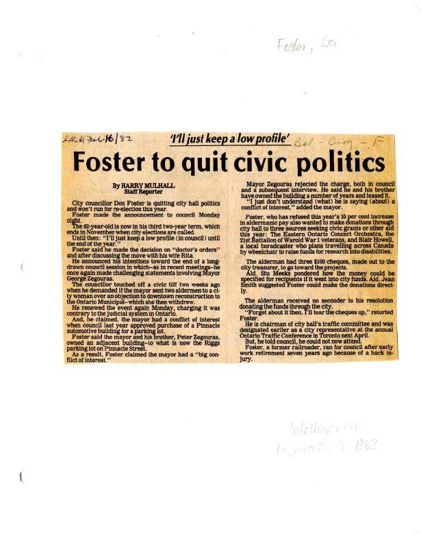 Foster to quit civic politics