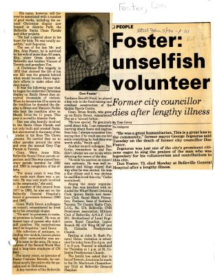 Foster: unselfish volunteer