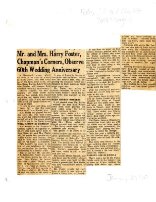 Mr and Mrs Harry Foster, Chapman's Corners, observe 60th wedding anniversary