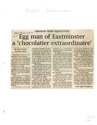 "Egg man of Eastminster a ""chocolatier extraordinaire"""
