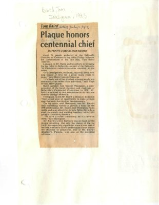 Tom Baird: Plaque honors centennial chief