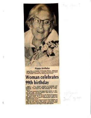 Woman celebrates 99th birthday