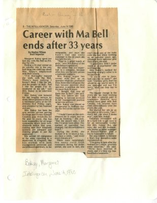 Career with Ma Bell ends after 33 years
