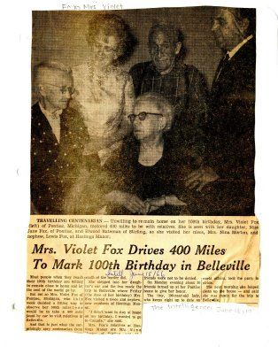 Mrs. Violet Fox drives 400 miles to mark 100th birthday in Belleville