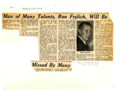 Man of many talents, Ron Fralick, will be missed by many
