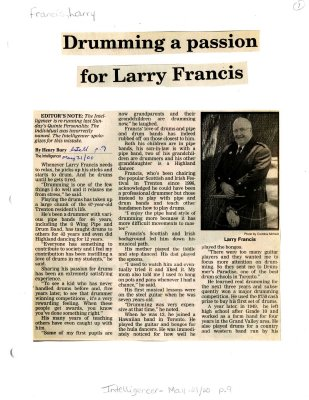 Drumming a passion for Larry Francis