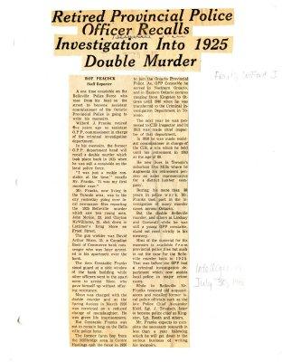 Retired Provincial Police Officer recalls investigation into 1925 double murder