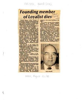 Founding member of Loyalist dies