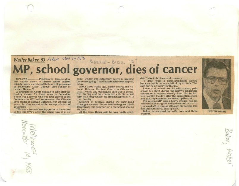 MP, school governor, dies of cancer