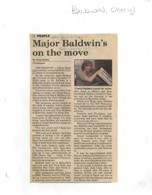 Major Baldwin's on the move