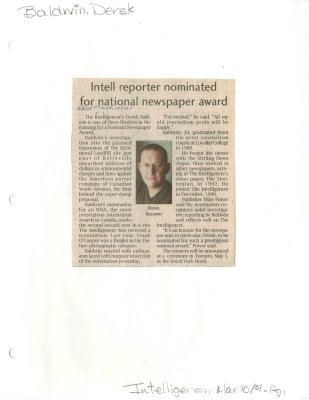 Intell reporter nominated for national newspaper award