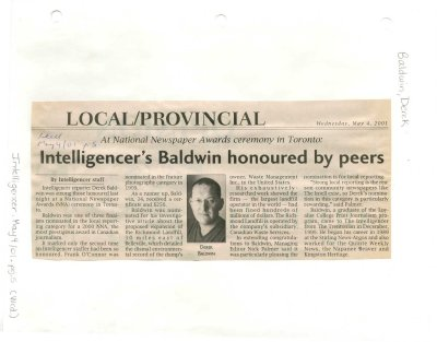 Intelligencer's Baldwin honoured by peers