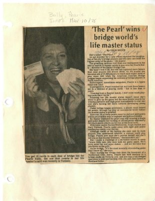 """The Pearl"" wins bridge world's life master status"