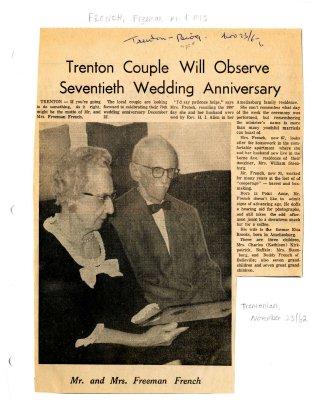 Trenton Couple will observe seventieth wedding anniversary
